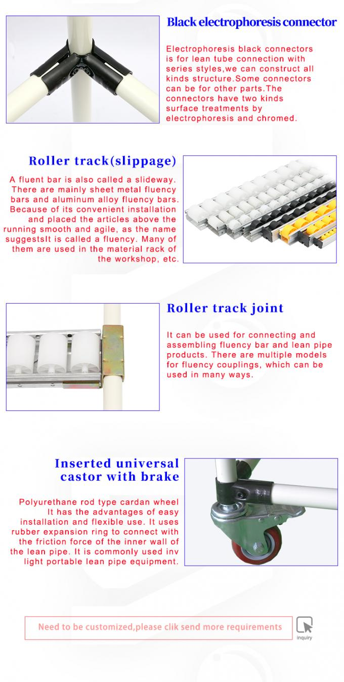 Connector And Joint Sliding Roller Track , DY43 Heavy Duty Pipe