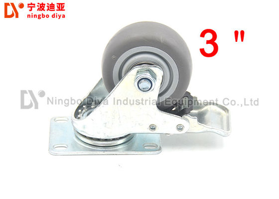 TPR Mute Flat Industrial Caster Wheels 75MM , Strong Caster Wheels For Industrial Racks