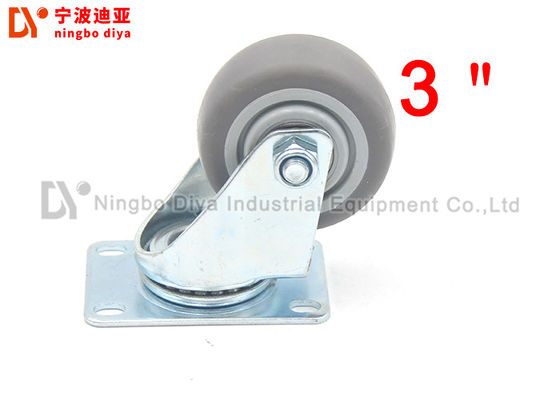 TPR Universal Industrial Caster Wheels , Heavy Duty Caster Wheels Bolt Hole Without Brake