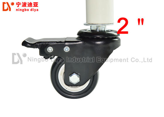 China Polished Surface Swivel Caster Wheels 2 Inch Insert Stem Black Castor Wheels With Brake factory