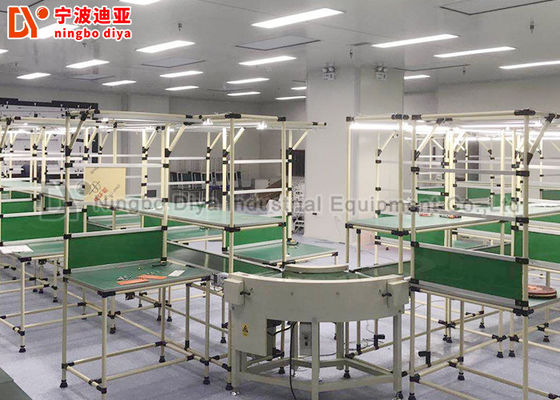 China Roller Track Assembly Line Conveyor , Flexible Assembly Line For Working Tables factory