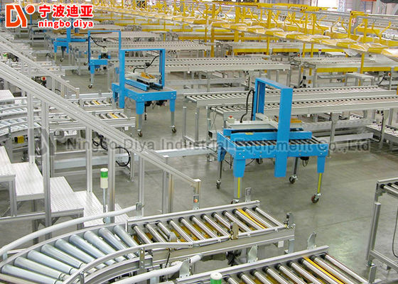 China Single Chain Driving Package Roller Conveyor , Industrial Powered Turning Roller Conveyor factory