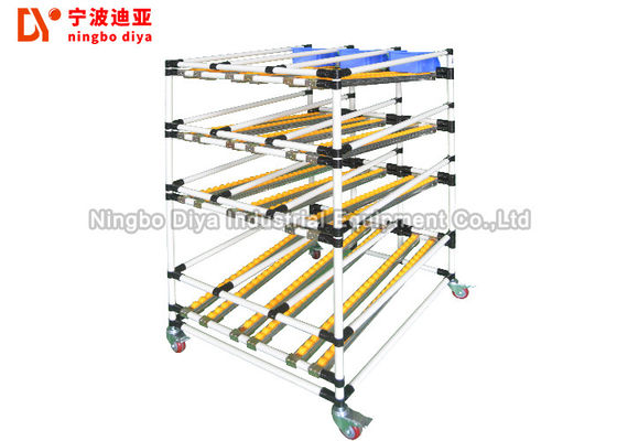China White Lean Pipe Sliding Roller Track Stainless Steel Frame For FIFO Flow Storage factory